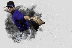 Pitcher Baseball. Player with a blue uniform coming out of a blast of smoke Stock Photography