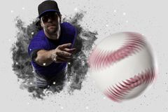 Pitcher Baseball. Player with a blue uniform coming out of a blast of smoke Stock Images
