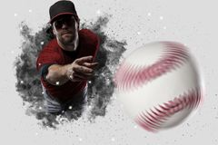 Pitcher Baseball. Player with a red uniform coming out of a blast of smoke Stock Photos