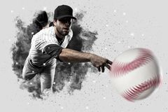 Pitcher Baseball. Player with a white uniform coming out of a blast of smoke Stock Images