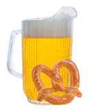 Pitcher of Beer on White with Pretzel Stock Photography