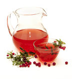 Pitcher and bowl with a drink . Pitcher and bowl with a drink from the berries cranberries Stock Images