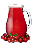 Pitcher of cranberry lingonberry smoothie Royalty Free Stock Photography