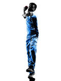Pitcher Cricket player  silhouette. Pitcher Cricket player in silhouette shadow on white background Stock Photography