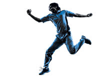 Pitcher Cricket player  silhouette Royalty Free Stock Image