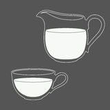 Pitcher and cup filled with milk. Milk logo in a blue and white. Pitcher and cup filled with milk. Design template for label, banner, badge, logo. Vector Royalty Free Stock Images