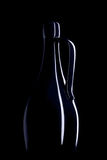 Pitcher on a dark background. Silhouette pitcher. light contours pitcher on a black background Stock Image