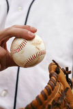 Pitcher Demonstrates His Baseball Grip Royalty Free Stock Image