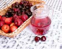 Pitcher with Fruit basket Royalty Free Stock Photos
