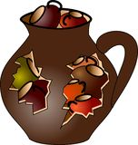 Pitcher full of small mugs. Brown pitcher full of small mugs Stock Image