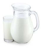 Pitcher and glass of milk. On a white background Stock Image