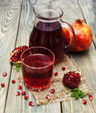 Pitcher and glass of pomegranate juice Royalty Free Stock Image