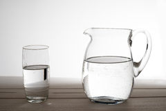 Pitcher and glass of water Royalty Free Stock Images