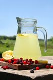 Pitcher of Ice Cold Lemonade and Fruit Outside in Summer Stock Images