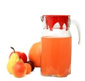 Pitcher juice and fruits Stock Images