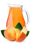 Pitcher of mandarin orange juice Royalty Free Stock Image
