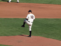 Pitcher Matt Cain lifts leg to throw pitch Stock Photos
