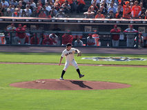 Pitcher Matt Cain steps forward to throw pitch Stock Images