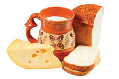 Pitcher of milk, bread and cheese Royalty Free Stock Photography