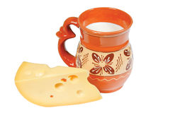 Pitcher of milk and cheese Stock Photography