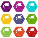 Pitcher of milk icon set color hexahedron Royalty Free Stock Photo