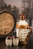 Pitcher with mugs and barrel Stock Photo