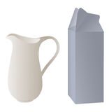 Pitcher and packaging. For milk Royalty Free Stock Image
