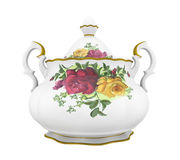 Pitcher with a pattern. Ceramic milk or creamer pitcher with a pattern of roses and gold in classic style Stock Images