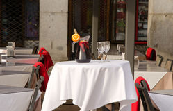 Pitcher of sangria. Restaurant table in Plaza Mayor, Madrid, Spain Stock Photography
