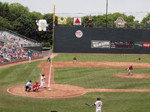Pitcher in throwing a pitch with infield in view. Portland Sea Dogs 11 vs New Britain Rock Cats 3: Rock Cats Pitcher in throwing a pitch with infield in view Stock Photo