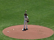 Pitcher Tim Lincecum lifts arm to the sky Stock Image