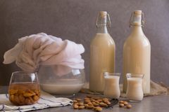 Pitcher, two bottles and two small glasses filled with homemade Almond milk on rustic grey background, raw almond nuts, vanilla be. Ans. Copy space Healthy stock photos