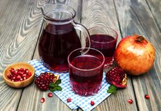 Pitcher and Two glasses of pomegranate juice Royalty Free Stock Photo