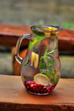 Pitcher of water and fruit. Stock Photography