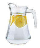 Pitcher of water with lemon slices Royalty Free Stock Images