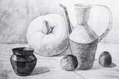 Pitchers, apples and pumpkin drawn in pencil Royalty Free Stock Photo