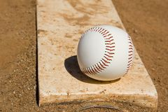Pitchers mound upclose. The pitchers mound with the ball on it Stock Photos