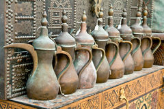 Pitchers. Old traditional copper Arabic pitchers Stock Photo