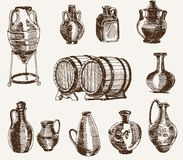 Pitchers and two barrels of wine. Set of vector sketches royalty free illustration