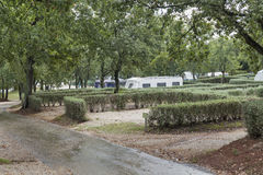 Pitches for camping with trailers in Istria, Croatia. Royalty Free Stock Images