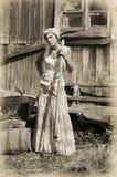 Γυναίκα με ένα pitchfork Στοκ Εικόνα