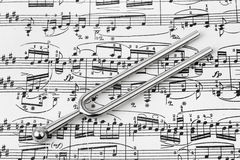 Pitchfork on sheet music Royalty Free Stock Images