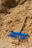 Pitchfork in Wood Shavings Royalty Free Stock Image