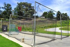 Pitching and Batting Practice Cage. Safety Net called a Bull Pen or Batting Cage where youngsters improve their pitching skills and hitting technique Royalty Free Stock Image