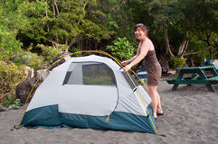 Pitching A Tent-Camping Royalty Free Stock Photo