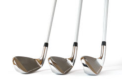 Pitching Wedge, 8 and 9 Iron Golf Clubs. Isolated on a white background Royalty Free Stock Photos