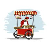 Pitchman with cart of food for your design. Vector illustration Royalty Free Stock Images