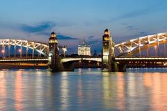 Piter第一座桥梁在圣彼德堡,俄罗斯 免版税库存照片