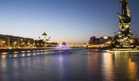 Piter pragnienie zabytek, Moskow, Rosja przy nocą Obraz Royalty Free