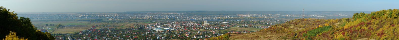 Pitesti panorama. Beautiful autumn panorama of Pitesti town, Arges county, Romania Royalty Free Stock Images